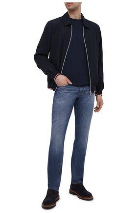 Мужские джинсы Z ZEGNA синего цвета, арт. VW781/ZZ533   Фото 2 (Материал внешний: Хлопок; Длина (брюки, джинсы): Стандартные; Силуэт М (брюки): Прямые; Кросс-КТ: Деним; Детали: Потертости; Стили: Кэжуэл)
