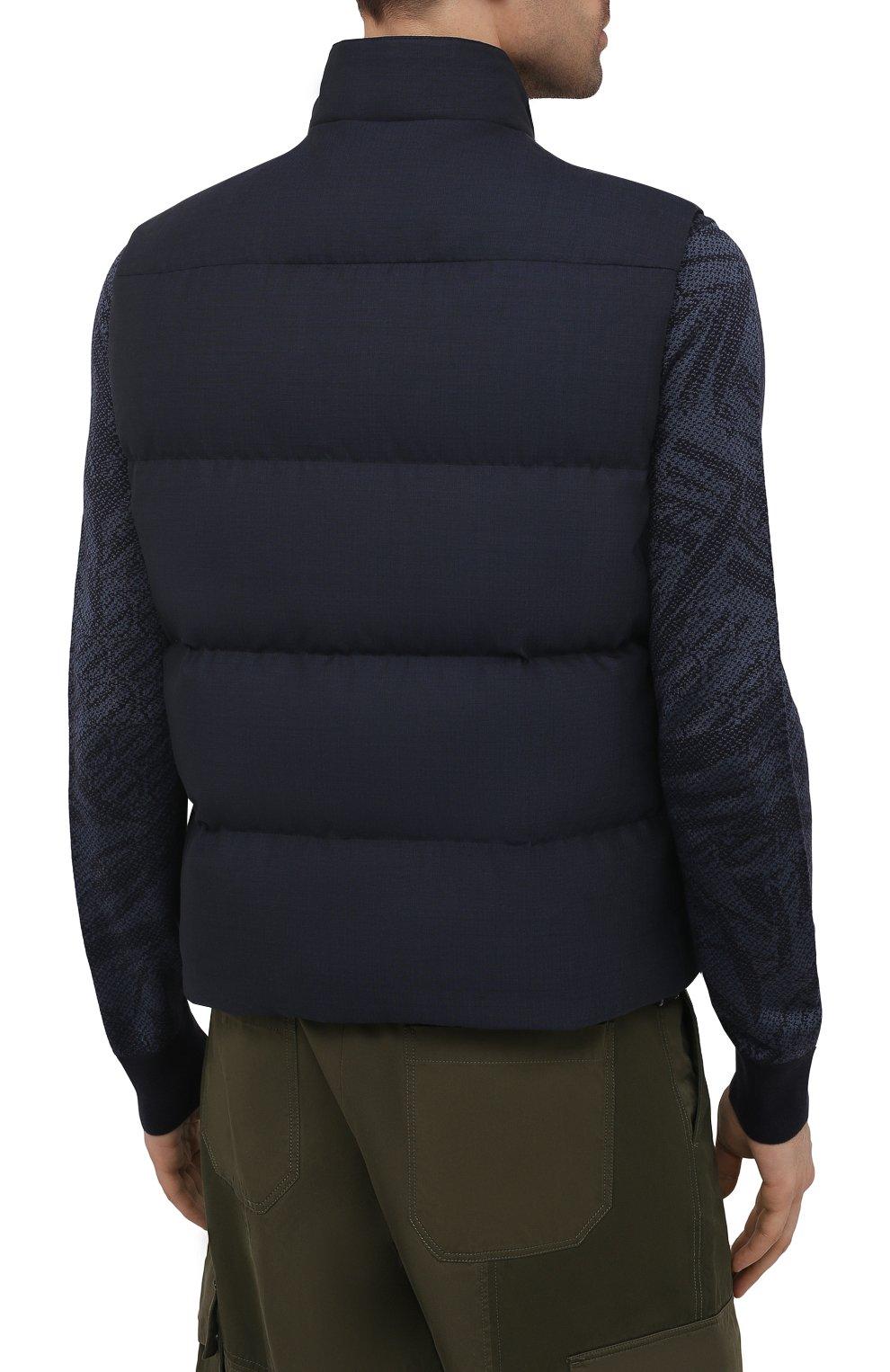 Мужской пуховый жилет ERMENEGILDO ZEGNA синего цвета, арт. UWT97/W116 | Фото 4