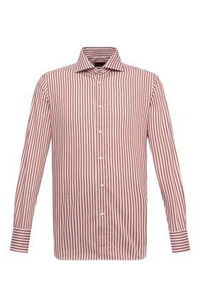 Мужская хлопковая сорочка ERMENEGILDO ZEGNA оранжевого цвета, арт. 901234/9MS0BA | Фото 1