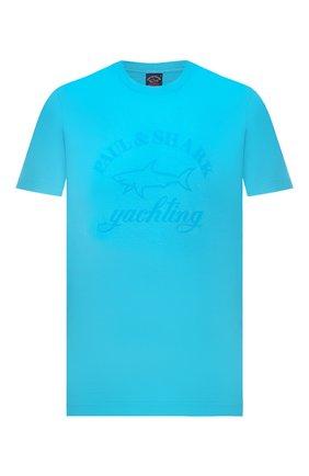 Мужская хлопковая футболка PAUL&SHARK бирюзового цвета, арт. C0P1007/C00   Фото 1