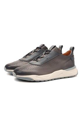 Мужские кожаные кроссовки SANTONI серого цвета, арт. MBIM21481BGTLDYEG62 | Фото 1 (Подошва: Массивная; Материал внутренний: Натуральная кожа; Стили: Классический)