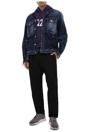Мужские кожаные кроссовки SANTONI серого цвета, арт. MBIM21481BGTLDYEG62 | Фото 2 (Подошва: Массивная; Материал внутренний: Натуральная кожа; Стили: Классический)