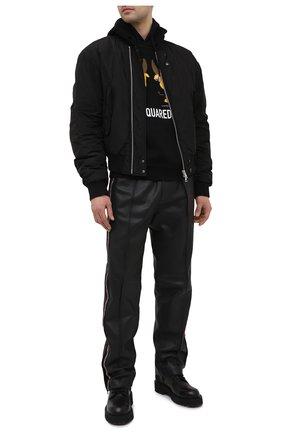 Мужской хлопковое худи DSQUARED2 черного цвета, арт. S74GU0508/S25042 | Фото 2 (Длина (для топов): Стандартные; Материал внешний: Хлопок; Рукава: Длинные; Мужское Кросс-КТ: Худи-одежда; Принт: С принтом; Стили: Гранж)