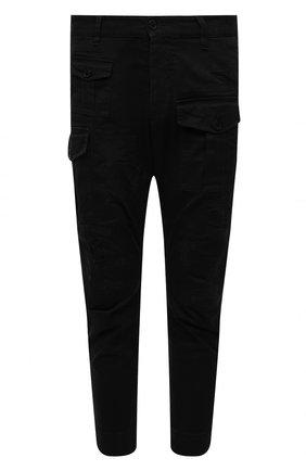 Мужские хлопковые брюки DSQUARED2 черного цвета, арт. S74KB0537/S39021   Фото 1