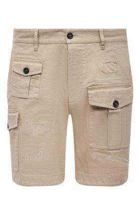 Мужские хлопковые шорты DSQUARED2 бежевого цвета, арт. S74MU0661/S39021 | Фото 1 (Длина Шорты М: До колена; Материал внешний: Хлопок; Мужское Кросс-КТ: Шорты-одежда; Принт: Без принта; Стили: Гранж)