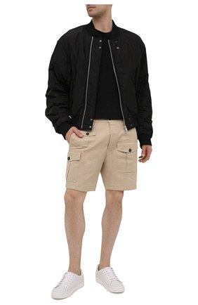 Мужские хлопковые шорты DSQUARED2 бежевого цвета, арт. S74MU0661/S39021 | Фото 2 (Длина Шорты М: До колена; Материал внешний: Хлопок; Мужское Кросс-КТ: Шорты-одежда; Принт: Без принта; Стили: Гранж)