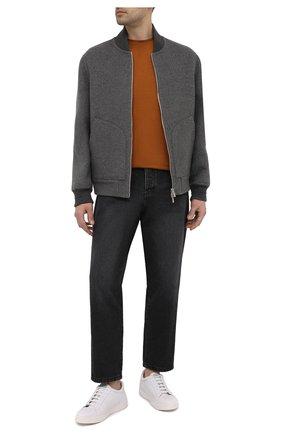 Мужские кожаные кеды KITON белого цвета, арт. USSSUITN00126 | Фото 2 (Материал внутренний: Натуральная кожа; Подошва: Массивная)