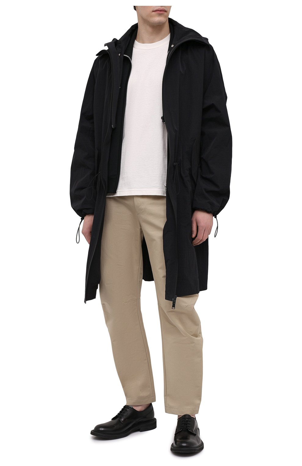 Мужские хлопковые брюки BOTTEGA VENETA бежевого цвета, арт. 647392/V0FJ0 | Фото 2 (Длина (брюки, джинсы): Стандартные; Случай: Повседневный; Материал внешний: Хлопок; Стили: Минимализм)