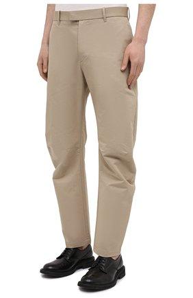 Мужские хлопковые брюки BOTTEGA VENETA бежевого цвета, арт. 647392/V0FJ0 | Фото 3 (Длина (брюки, джинсы): Стандартные; Случай: Повседневный; Материал внешний: Хлопок; Стили: Минимализм)