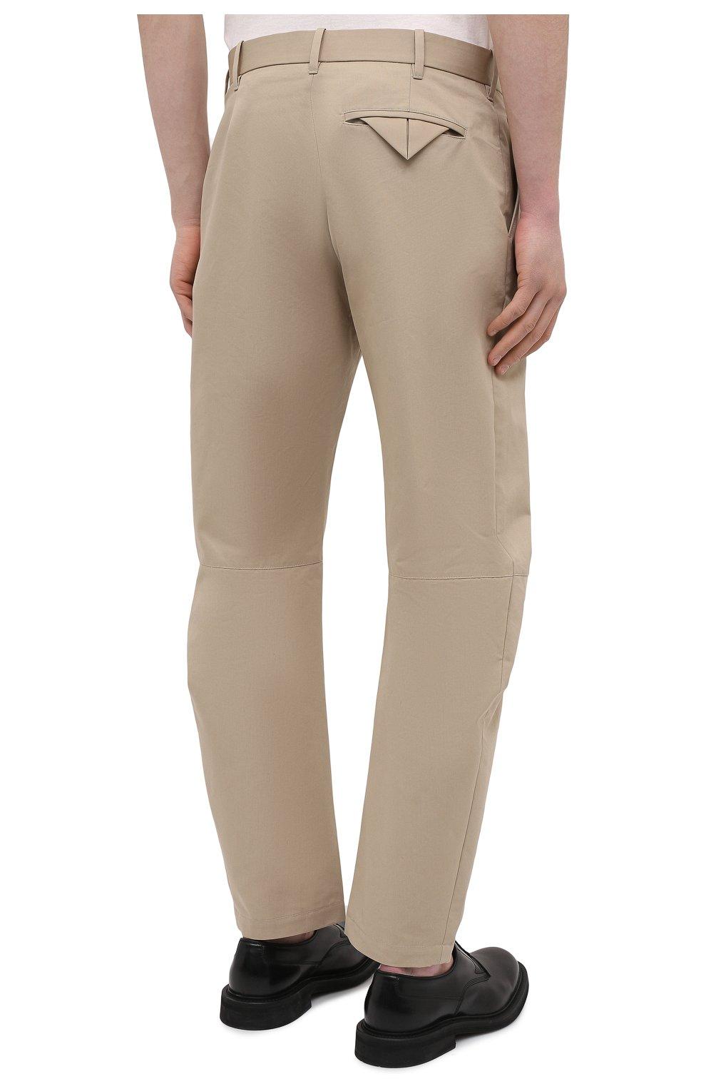 Мужские хлопковые брюки BOTTEGA VENETA бежевого цвета, арт. 647392/V0FJ0 | Фото 4 (Длина (брюки, джинсы): Стандартные; Случай: Повседневный; Материал внешний: Хлопок; Стили: Минимализм)