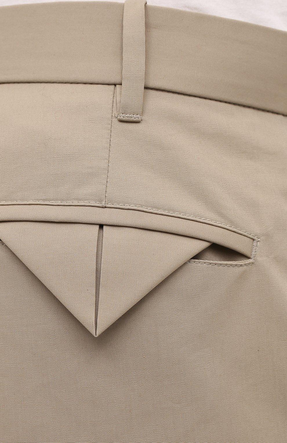 Мужские хлопковые брюки BOTTEGA VENETA бежевого цвета, арт. 647392/V0FJ0 | Фото 5 (Длина (брюки, джинсы): Стандартные; Случай: Повседневный; Материал внешний: Хлопок; Стили: Минимализм)