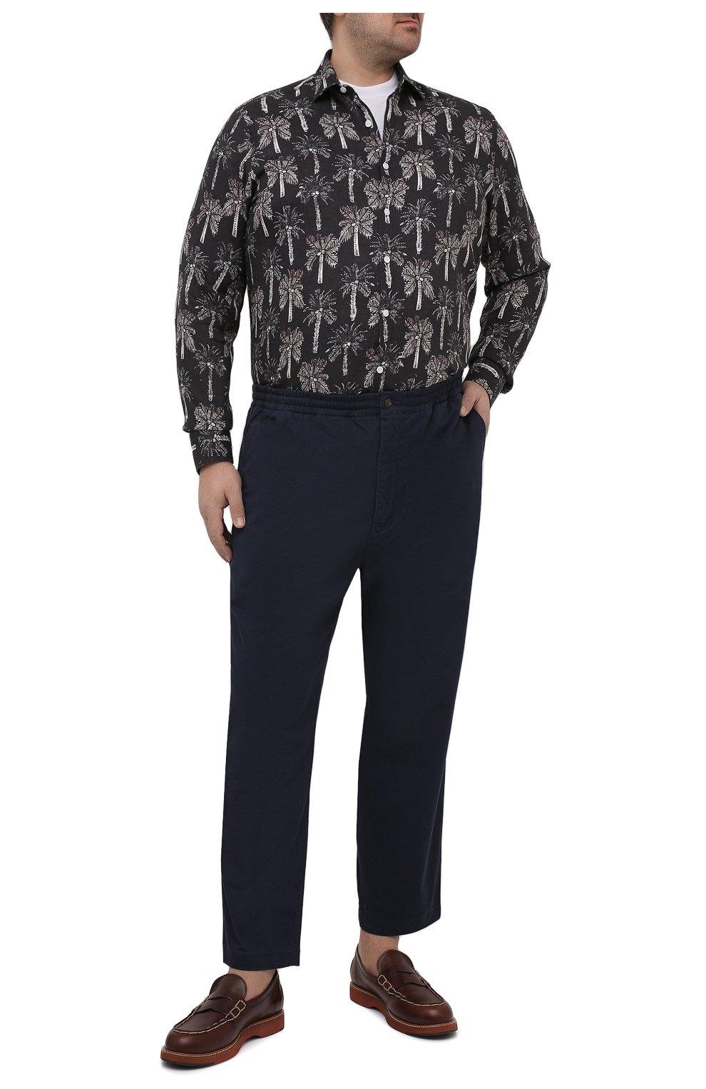 Мужская льняная рубашка SONRISA темно-синего цвета, арт. IL7/C4123/47-51   Фото 2 (Манжеты: На пуговицах; Big sizes: Big Sizes; Рукава: Длинные; Рубашки М: Regular Fit; Воротник: Акула; Случай: Повседневный; Длина (для топов): Стандартные; Принт: С принтом; Материал внешний: Лен; Стили: Кэжуэл)