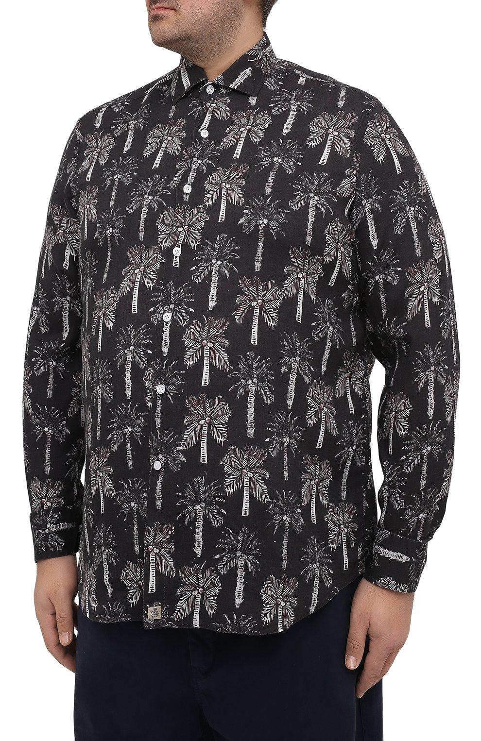 Мужская льняная рубашка SONRISA темно-синего цвета, арт. IL7/C4123/47-51   Фото 3 (Манжеты: На пуговицах; Big sizes: Big Sizes; Рукава: Длинные; Рубашки М: Regular Fit; Воротник: Акула; Случай: Повседневный; Длина (для топов): Стандартные; Принт: С принтом; Материал внешний: Лен; Стили: Кэжуэл)