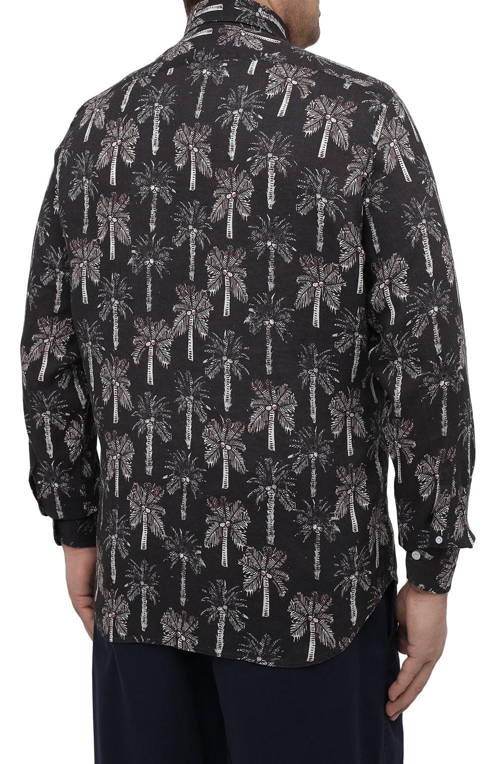 Мужская льняная рубашка SONRISA темно-синего цвета, арт. IL7/C4123/47-51   Фото 4 (Манжеты: На пуговицах; Big sizes: Big Sizes; Рукава: Длинные; Рубашки М: Regular Fit; Воротник: Акула; Случай: Повседневный; Длина (для топов): Стандартные; Принт: С принтом; Материал внешний: Лен; Стили: Кэжуэл)