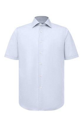 Мужская хлопковая сорочка CANALI светло-голубого цвета, арт. Y18/GD02246   Фото 1 (Рукава: Короткие; Длина (для топов): Стандартные; Материал внешний: Хлопок; Стили: Классический; Рубашки М: Regular Fit; Принт: Клетка; Воротник: Акула; Случай: Формальный)