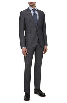 Мужской костюм из шерсти и льна BOSS серого цвета, арт. 50450488   Фото 1 (Рукава: Длинные; Материал внешний: Шерсть; Стили: Классический; Костюмы М: Однобортный)