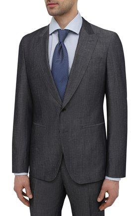 Мужской костюм из шерсти и льна BOSS серого цвета, арт. 50450488   Фото 2 (Рукава: Длинные; Материал внешний: Шерсть; Стили: Классический; Костюмы М: Однобортный)