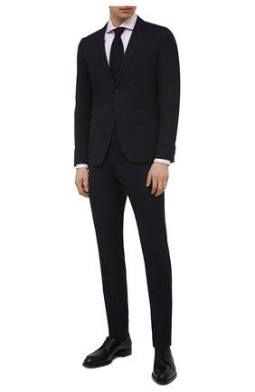 Мужской шерстяной костюм BOSS темно-синего цвета, арт. 50450261   Фото 1 (Рукава: Длинные; Материал внешний: Шерсть; Стили: Классический; Костюмы М: Однобортный)