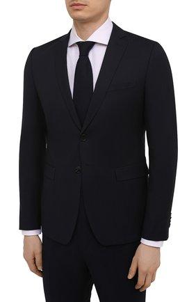 Мужской шерстяной костюм BOSS темно-синего цвета, арт. 50450261   Фото 2 (Рукава: Длинные; Материал внешний: Шерсть; Стили: Классический; Костюмы М: Однобортный)