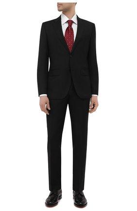 Мужской шерстяной костюм BOSS черного цвета, арт. 50450409 | Фото 1 (Материал внешний: Шерсть; Стили: Классический; Костюмы М: Однобортный; Материал подклада: Вискоза; Рукава: Длинные)