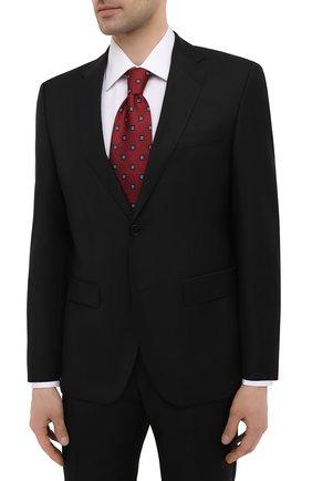 Мужской шерстяной костюм BOSS черного цвета, арт. 50450409 | Фото 2 (Материал внешний: Шерсть; Стили: Классический; Костюмы М: Однобортный; Материал подклада: Вискоза; Рукава: Длинные)