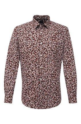 Мужская рубашка из хлопка и льна BOSS коричневого цвета, арт. 50450936   Фото 1