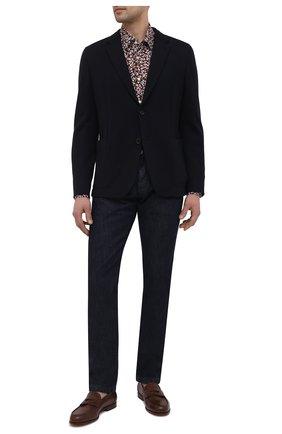 Мужская рубашка из хлопка и льна BOSS коричневого цвета, арт. 50450936   Фото 2
