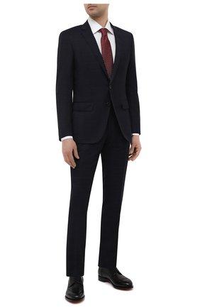 Мужской шерстяной костюм BOSS темно-синего цвета, арт. 50450262   Фото 1 (Материал внешний: Шерсть; Рукава: Длинные; Стили: Классический; Костюмы М: Однобортный)