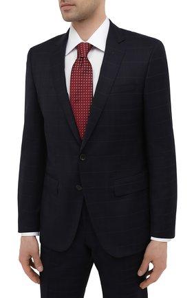 Мужской шерстяной костюм BOSS темно-синего цвета, арт. 50450262   Фото 2 (Материал внешний: Шерсть; Рукава: Длинные; Стили: Классический; Костюмы М: Однобортный)