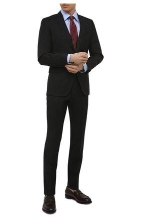 Мужской шерстяной костюм BOSS черного цвета, арт. 50450410   Фото 1 (Материал внешний: Шерсть; Рукава: Длинные; Стили: Классический; Костюмы М: Однобортный)