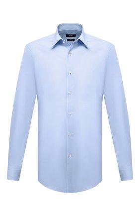 Мужская хлопковая сорочка BOSS голубого цвета, арт. 50440111 | Фото 1