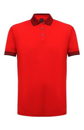 Мужское хлопковое поло BOSS красного цвета, арт. 50451412 | Фото 1