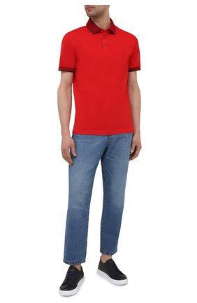 Мужское хлопковое поло BOSS красного цвета, арт. 50451412 | Фото 2