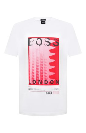 Мужская хлопковая футболка BOSS белого цвета, арт. 50450793   Фото 1