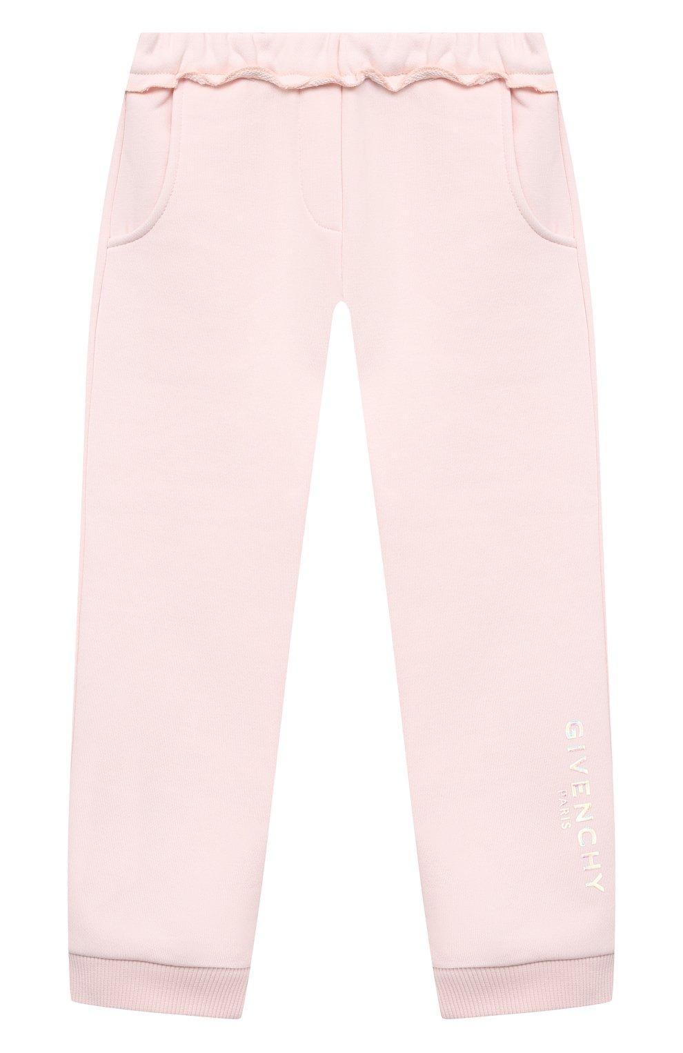 Детские хлопковые джоггеры GIVENCHY розового цвета, арт. H04103 | Фото 1