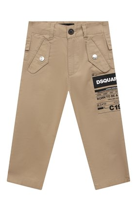 Детские хлопковые брюки DSQUARED2 бежевого цвета, арт. DQ0076-D005S | Фото 1