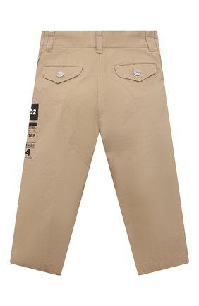 Детские хлопковые брюки DSQUARED2 бежевого цвета, арт. DQ0076-D005S | Фото 2