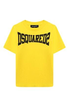 Детская хлопковая футболка DSQUARED2 желтого цвета, арт. DQ0156-D002F | Фото 1