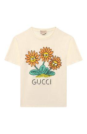 Детская хлопковая футболка GUCCI белого цвета, арт. 580991/XJC9N | Фото 1