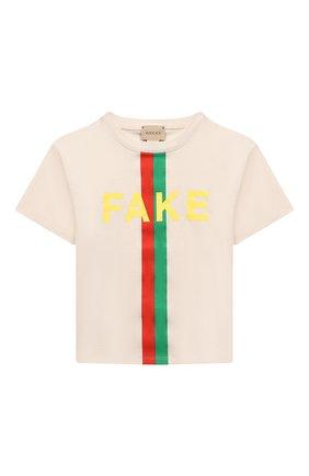Детская хлопковая футболка GUCCI белого цвета, арт. 586167/XJC7Q   Фото 1