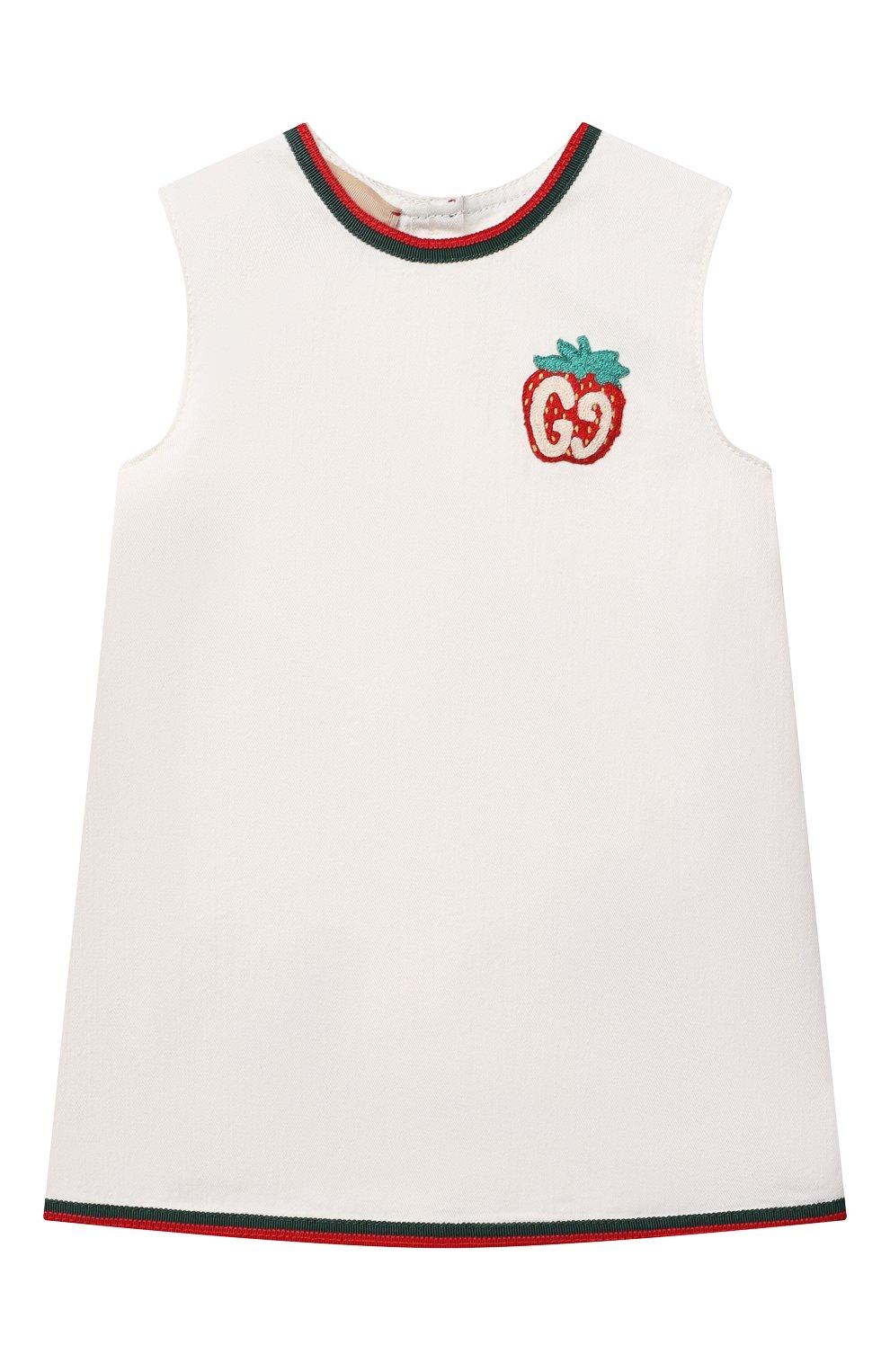Женский хлопковое платье GUCCI белого цвета, арт. 595892/XDBKQ | Фото 1