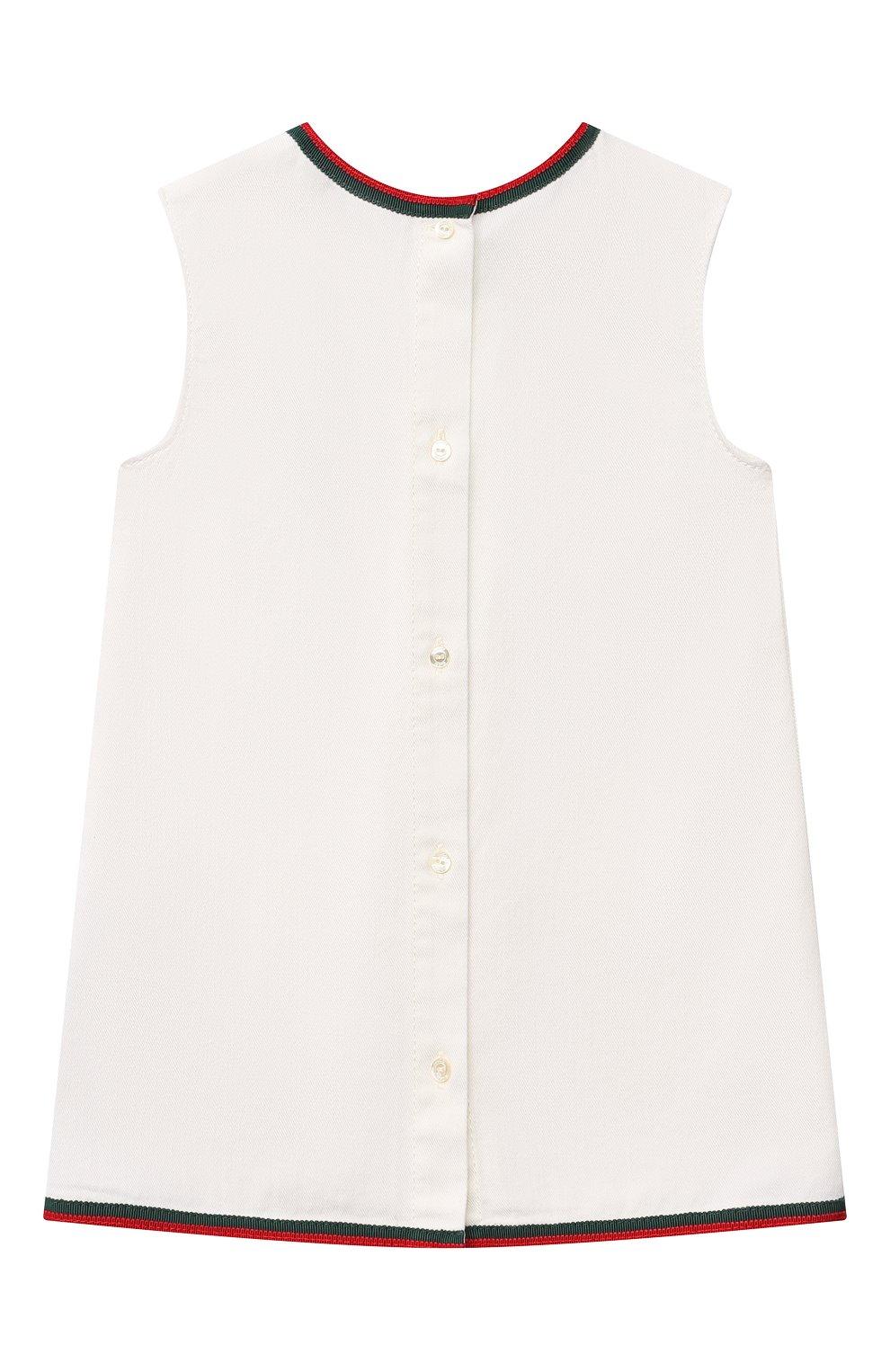 Женский хлопковое платье GUCCI белого цвета, арт. 595892/XDBKQ | Фото 2
