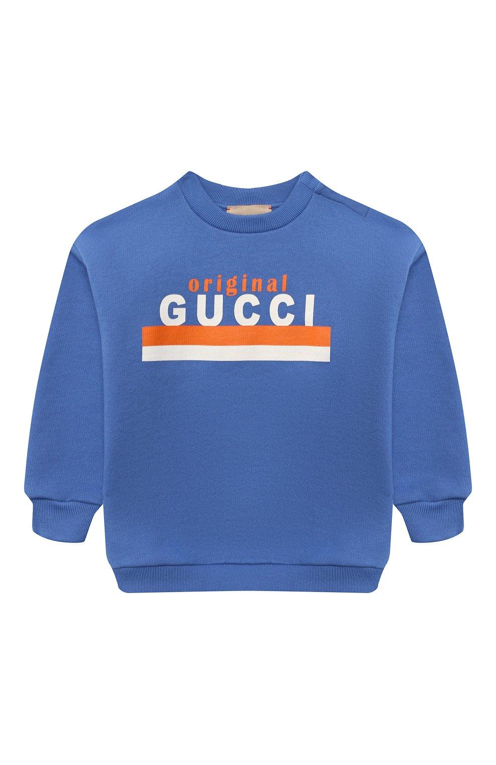 Детский хлопковый свитшот GUCCI голубого цвета, арт. 629430/XJC7C | Фото 1