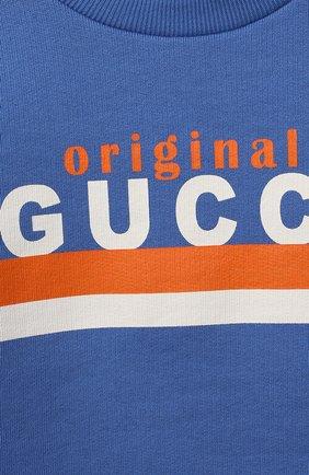 Детский хлопковый свитшот GUCCI голубого цвета, арт. 629430/XJC7C | Фото 3