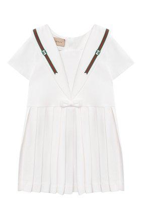 Женский хлопковое платье GUCCI белого цвета, арт. 647003/XJC85 | Фото 1