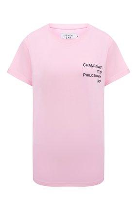 Женская хлопковая футболка SEVEN LAB светло-розового цвета, арт. T20-CYPN pink | Фото 1
