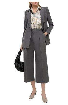 Женские шерстяные брюки BOSS серого цвета, арт. 50450110 | Фото 2