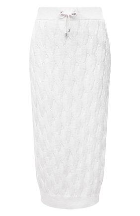 Женская юбка из хлопка и льна BRUNELLO CUCINELLI белого цвета, арт. M70573289 | Фото 1
