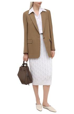 Женская юбка из хлопка и льна BRUNELLO CUCINELLI белого цвета, арт. M70573289 | Фото 2