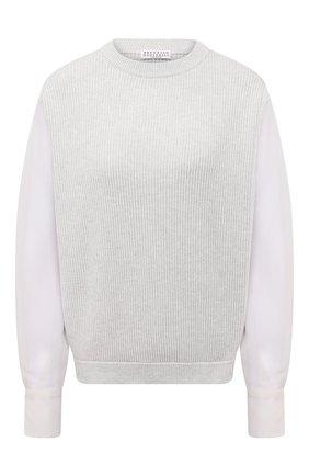 Женский хлопковый пуловер BRUNELLO CUCINELLI светло-серого цвета, арт. M19710500 | Фото 1
